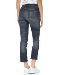 Rag & Bone | Blue Distressed Midrise Skinny Capri Jeans | Lyst