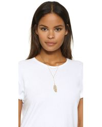 Rebecca Minkoff Metallic Layered Feather Drop Necklace - Gold/clear