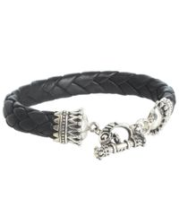 King Baby Studio | Metallic Small Black Leather Braided Bracelet with Crown Toggle Clasp for Men | Lyst