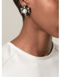Lanvin - White Cross-Shaped Pearl Earrings - Lyst