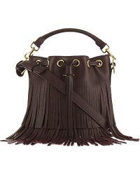 Saint Laurent | Purple Emmanuelle Small Fringed Leather Bucket Bag | Lyst