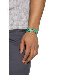 Miansai Green Silver Anchor Leather Wrap Bracelet for men