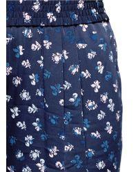 Diane von Furstenberg Blue 'janeta' Daisy Bud Print Silk Pants