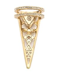 House of Harlow 1960 - Metallic Tres Triple Finger Ring - Gold - Lyst