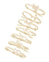 Tai   Metallic Pave Initial Bracelet Golden   Lyst