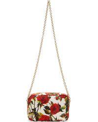 Dolce & Gabbana | White And Red Rose Print Shoulder Bag | Lyst