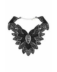 TOPSHOP - Black Rhinestone Flower Collar - Lyst