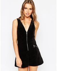 ASOS Black Cord Playsuit With Zip Ring Pull