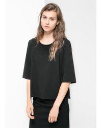 Mango - Black Boxy T-Shirt - Lyst
