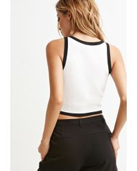 Forever 21 | Natural Contrast-trimmed Cropped Tank | Lyst