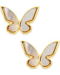 kate spade new york - Metallic 14k Gold-plated Mother-of-pearl Butterfly Stud Earrings - Lyst