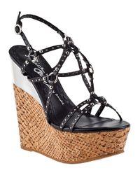Alice + Olivia | Shayla Wedge Sandal Black Leather | Lyst