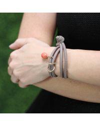 Mizuki | Gray Coral And Diamond Cross Wrap Bracelet/choker | Lyst