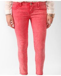 Forever 21 - Red Mineral Wash Cropped Skinnies - Lyst