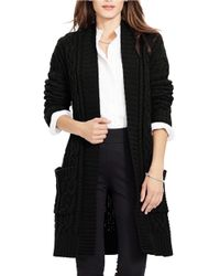 Lauren by Ralph Lauren | Black Petite Cable-knit Open-front Cardigan | Lyst