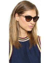 Tory Burch Multicolor Round Sunglasses - Dark Tortoise/Navy Orange