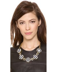 Juicy Couture - Black Stiped Hexagon Link Necklace - Lyst