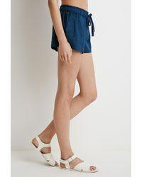 Forever 21 Blue Linen Drawstring Shorts