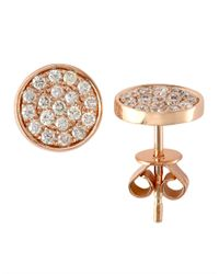 Effy | Pink Pave Diamond And 14k Rose Gold Circle Stud Earrings | Lyst