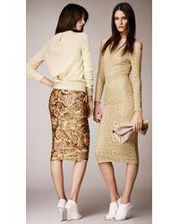 Burberry Metallic Tiled Motif English Lace Dress