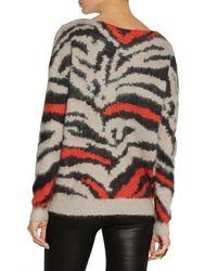 Maje Gray Dauville Patterned Knitted Sweater