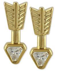 Roman Luxe | Metallic 14k Gold-plated Crystal Arrow Stud Earrings | Lyst