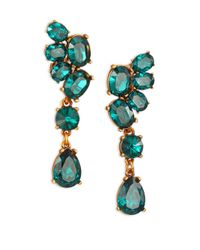 Oscar de la Renta | Metallic Asymmetrical Crystal Clip-on Drop Earrings | Lyst