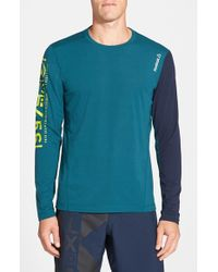 Reebok Blue 'one Series Breeze' Long Sleeve Playice Graphic T-shirt for men