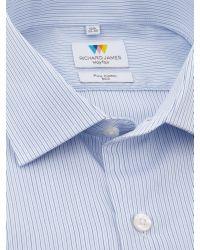 Richard James Blue Fine Stripe Slim Fit Shirt for men