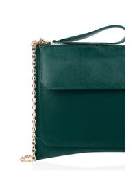 Oasis Green Leather Betti Clutch