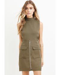 Forever 21 | Green Zippered Mini Sheath Dress | Lyst