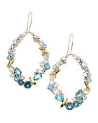 Alexis Bittar - Multicolor Smoky Gold Marquise Oval Earrings Aqua Quartz Topaz Diamonds - Lyst