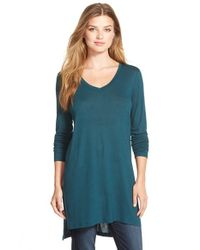 Halogen | Green Long Sleeve Lightweight Tunic | Lyst