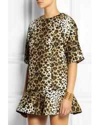 RED Valentino Brown Leopard-Print Scuba-Jersey Mini Dress