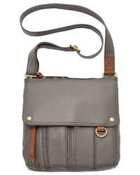 Fossil Gray Morgan Leather Traveler Crossbody Bag