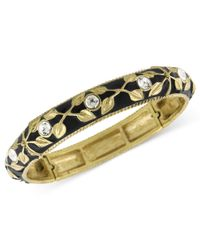 2028 | Metallic Gold-tone And Jet Enamel Stretch Bracelet | Lyst