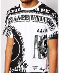 Aape Black By A Bathing Ape T-Shirt With Dollar Bill Print for men
