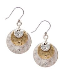 Lucky Brand - Metallic Twotone Hammered Disc Drop Earrings - Lyst