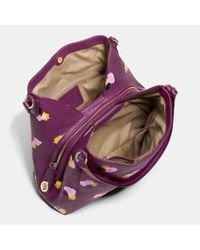 COACH Purple Edie Shoulder Bag 31 In Floral Print Leather