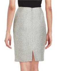 Tahari Gray Petite Sequined Knit Pencil Skirt