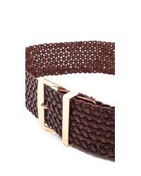 Linea Pelle Brown Wide Braided Waist Belt Tmoro