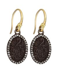 Armenta - Blue Old World Carved Oval Earrings With Diamonds - Lyst