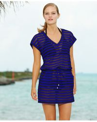 Calvin Klein - Blue Striped Tunic Cover Up - Lyst
