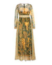 Valentino Green Printed Cotton Dress