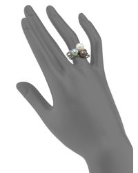Majorica | Metallic 8mm White, Grey & Black Tahitian Round Pearl Ring Set | Lyst