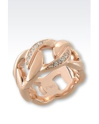 Emporio Armani | Metallic Ring In Rose Gold-plated Steel And Crystals | Lyst