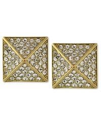 Vince Camuto | Metallic Gold-tone Glass Pave Pyramid Stud Earrings | Lyst