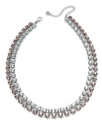 Swarovski | Pink Swarovksi Necklace, Rhodium-Plated Rose And Clear Crystal Two-Row Collar Necklace | Lyst