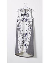 Sea - Gray Lace & Jersey Combo Dress - Lyst