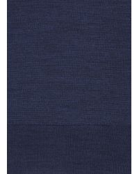 John Smedley Blue Fine Knit Merino Wool Jumper for men